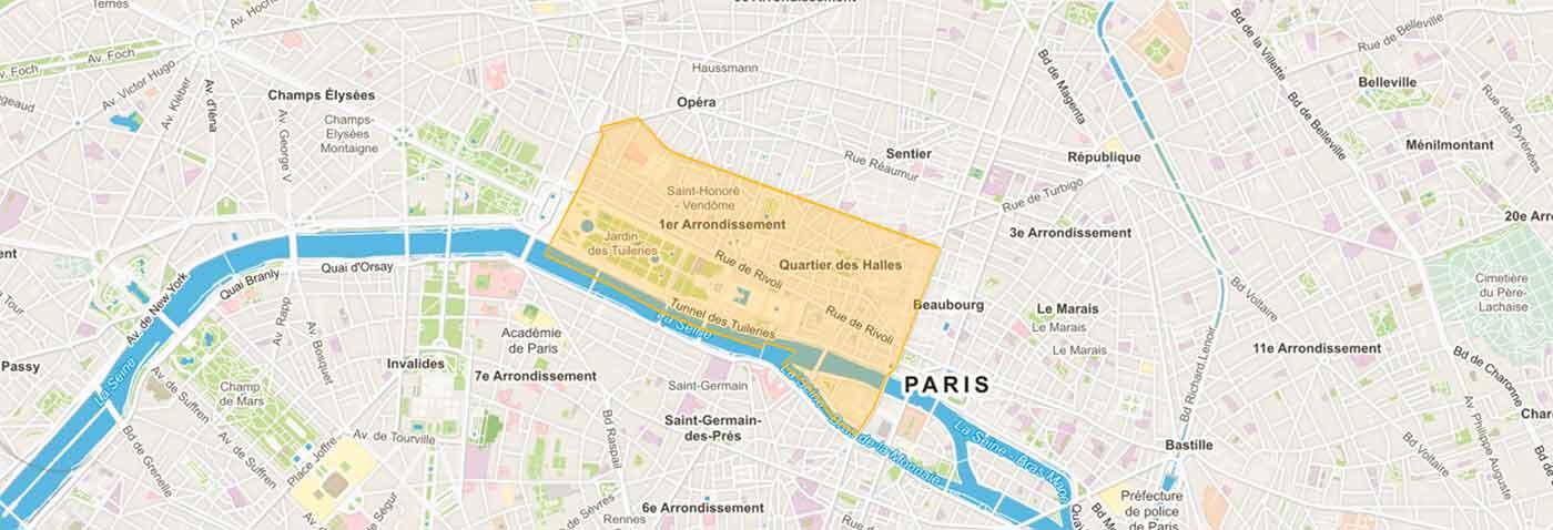 Plan Paris 1er arrondissement