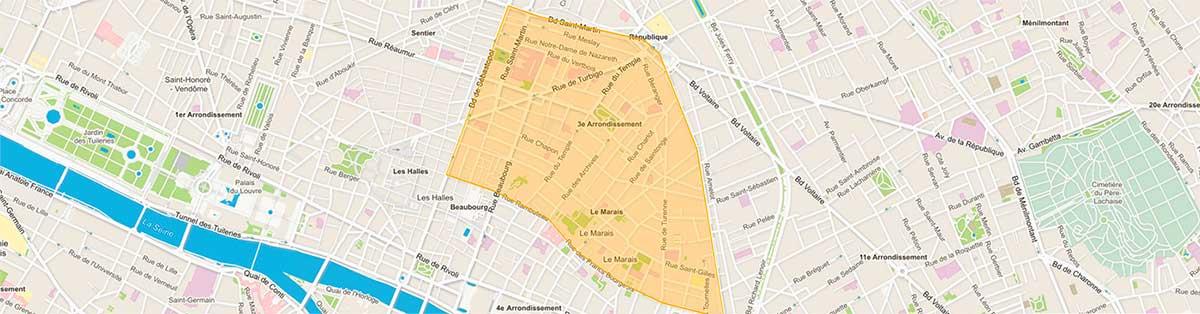 Plan du 3e arrondissement de Paris