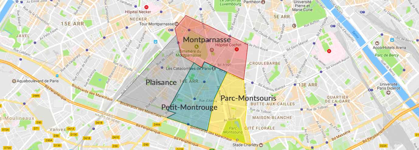 Les 4 quartiers du 14e arrondissement Paris