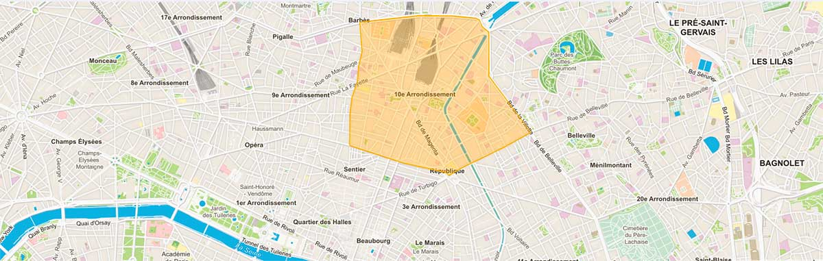 Plan du 10e arrondissement Paris