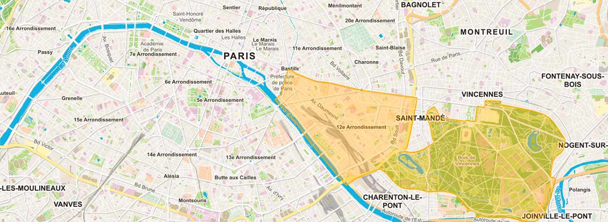 Plan de Paris 12e arrondissement