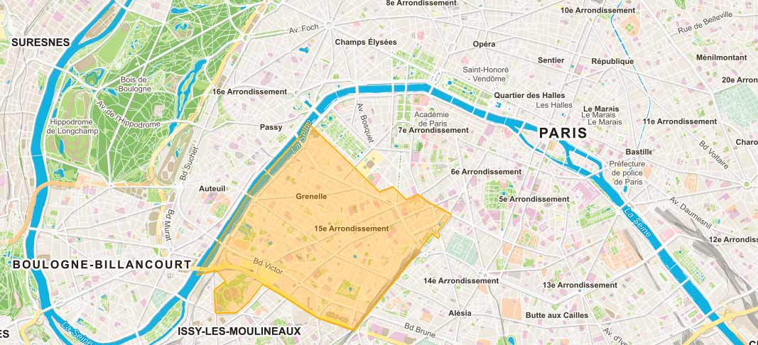 Plan de Paris 15e arrondissement