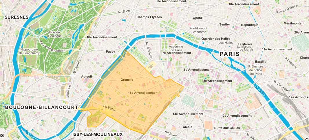 Plan de Paris 15e arrondissement