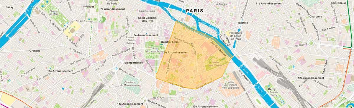 Plan du 5e arrondissement de Paris