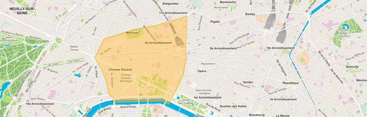 Plan du 8e arrondissement paris