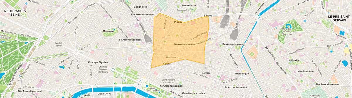 Plan du 9e arrondissement de Paris