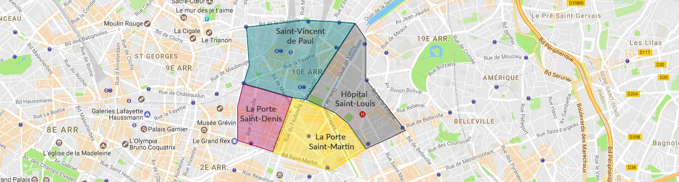 Plan des quartiers du 10e arrondissement
