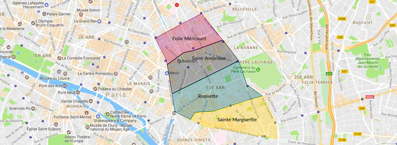 Plan des quartiers du 11e arrondissement de Paris