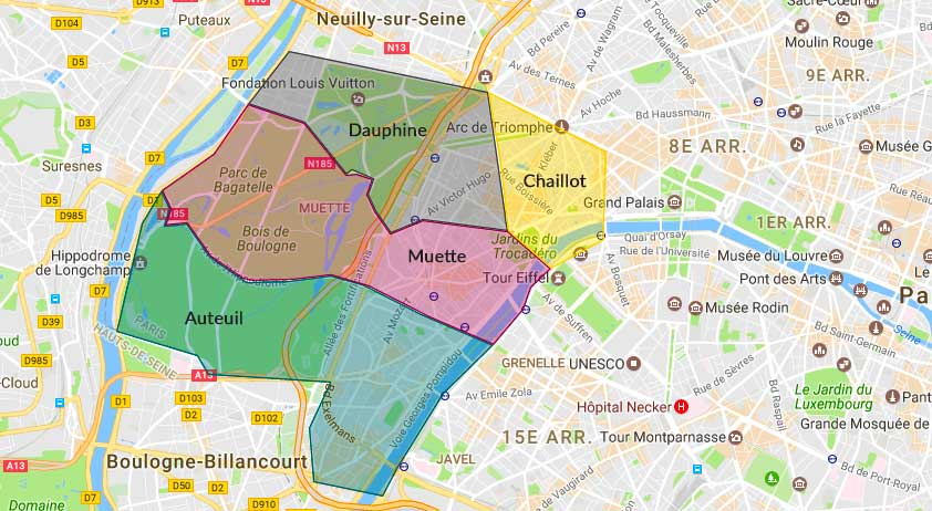 Plan des quartiers du 16e arrondissement de Paris